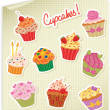 Cupcakes Stickers Set — Stock Vector