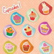 Cupcakes Stickers Set - Stock Vector