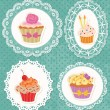 Cupcakes on Laces - Stock Vector