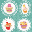 Stock Vector: Cupcakes on Laces