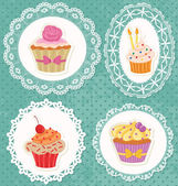 Cupcakes on Laces — Stock Vector