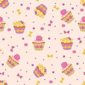 Seamless Cupcakes — Stock Vector