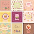 Stock Vector: Cupcake Cards Collection