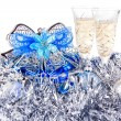 Glasses of champagne on New Year toys — Foto Stock