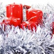 Red Christmas candles and toys — Stockfoto