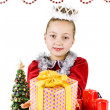 Little snow maiden with gifts — Stock Photo #13355239