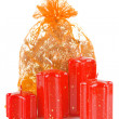A bag of gifts with candles — Stock Photo