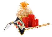 Una bolsa de regalos con velas — Foto de Stock