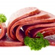 Sliced smoked sausage - Stock Photo