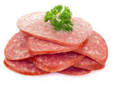 Sliced smoked sausage — Stock Photo
