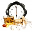 Hours at 6 pm teand diet snacks — Stock Photo #20148213