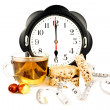 Hours at 6 pm tea and diet snacks — Stockfoto