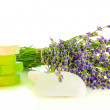 Stock Photo: Bunch of lavender flowers on white background with soap