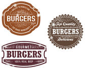 Vintage Style Burger Stamps — Vettoriale Stock