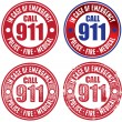 Call 911 Emergency Stamp - Stock Vector
