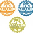 Vacation and Spring Break Stamps — Stock Vector