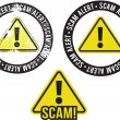 Scam Alert Crime Warning Stamp — Stock Vector
