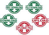 File Upload and Download Stamps — Stock Vector
