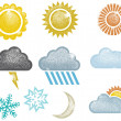 Distressed Weather Icons — Stock Vector