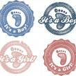 It's a boy-girl newborn baby stamp — Stock vektor
