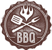 Vintage Barbecue BBQ Stamp — Vettoriale Stock