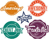 Amazing and Awesome Recognition Stamps — Stock Vector