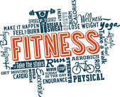 Fitness and Healthy Exercise Word — Stockvektor