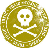 Toxic Skull Stamp — Stock Vector