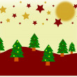 Winter Christmas landscape with fir tree — Vector de stock