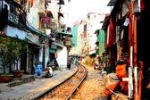 Railway crossing town houses in Hanoi — Stok fotoğraf