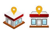 Vector illustration of houses with map pin — Stock Vector