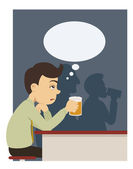A man with beer at pub — Stock Vector