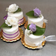 Four small wedding cakes — Stock Photo