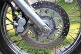 Front wheel of a motorcycle — Stock Photo