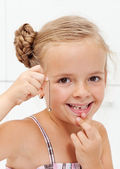 Little girl with her first missing milk tooth — Stock Photo