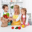 Healthy nutrition concept with in the kitchen - Stock Photo