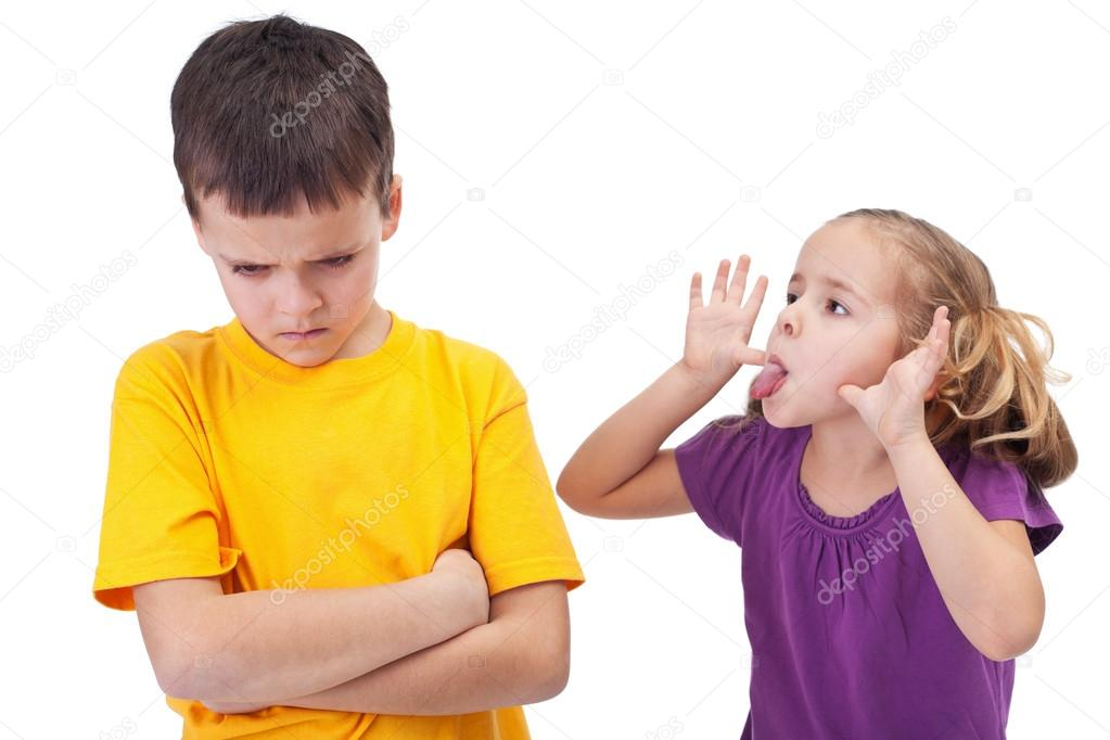 Mocking and teasing among children - girl taunting upset boy, isolated — Stock Photo #12699238