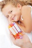 Little girl awaiting homeopathic medication — Stock Photo
