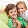 Stock Photo: Kids with their new pet