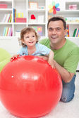 Fun with dad - little boy playing with his father — Stock Photo