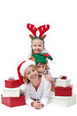 Happy santa with elf and reindeer - christmas heap — Stock Photo