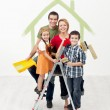 Family with kids painting their new home — Stock Photo