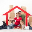 Stock Photo: Family in a new home concept