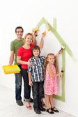 Famiglia dipinto insieme — Foto Stock