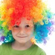 Cute boy with freckles and clown hair — Stock Photo