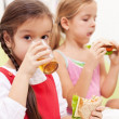 Young girls having a healthy snack — Stock Photo #18897065