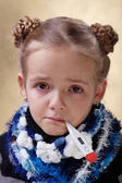 Little girl with red eyes having the flu — Stock Photo