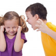 Quarreling kids - boy shouting to girl — Stock Photo #26088773