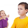 School bullying concept with girl mocking boy — Stock Photo #26088791