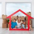 New home concept with woman and kids — Stock Photo